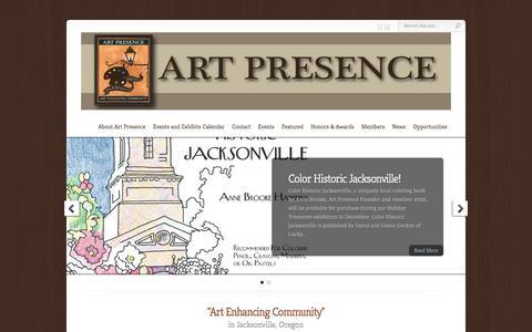 Screenshot of Home Page art-presence.org - Art Presence Art Center - - captured Dec. 1, 2017