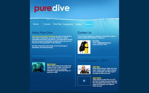 Screenshot of About Page puredive.com.au captured Oct. 3, 2014