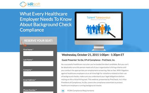 Screenshot of Landing Page hrsoft.com - What Every Employer Needs To Know About Background Check Compliance - captured Sept. 6, 2016