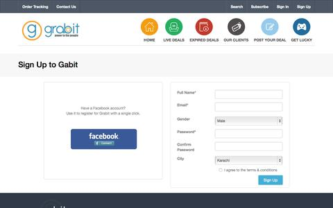 Screenshot of Signup Page grabit.com.pk - Sign Up - Grabit - Amazing deals up to 90% on things you love. - captured Oct. 1, 2015