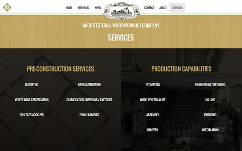 Screenshot of Services Page awcla.com - AWC Architectural Woodworking Company - captured Feb. 6, 2016