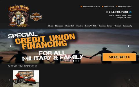 Screenshot of Home Page hornytoadhd.com - Horny Toad Harley-Davidson® | Temple. TX | New & Used Harley-Davidson® Motorcycles, Parts, Service and Accessories - captured Sept. 29, 2018