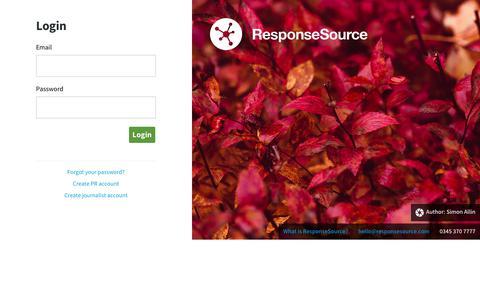 Screenshot of Login Page responsesource.com - Login | ResponseSource - captured Nov. 16, 2018