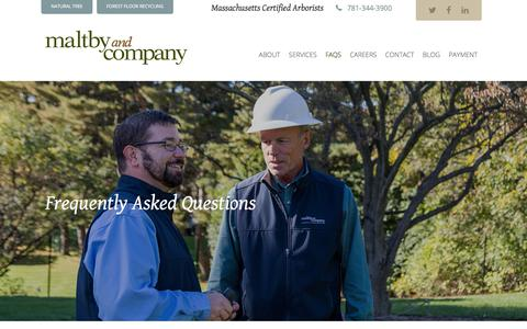 Screenshot of FAQ Page maltbytree.com - FAQ - Frequently-Asked Questions about Tree Removal, Tree Pruning and Arborcare by Expert Arborists at Maltby Tree - captured July 27, 2018