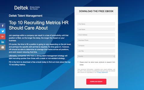 Screenshot of Landing Page deltek.com - Top 10 Recruiting Metrics HR Should Care About | Deltek - captured April 28, 2017