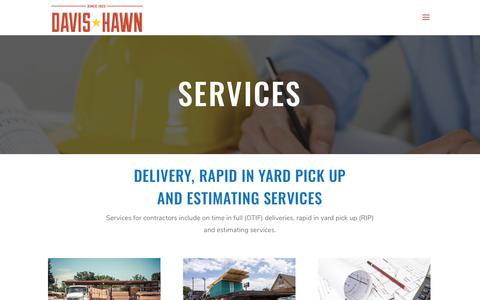 Screenshot of Services Page davis-hawn.com - Delivery and Estimating Services - Davis Hawn - captured July 10, 2019