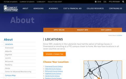 Screenshot of Locations Page ptc.edu - Locations | Piedmont Technical College - captured Dec. 4, 2015