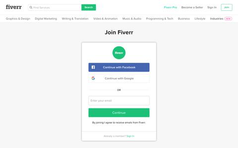Screenshot of Signup Page fiverr.com - Join fiverr.com   become a seller or buy services starting at $5! - captured Nov. 16, 2019