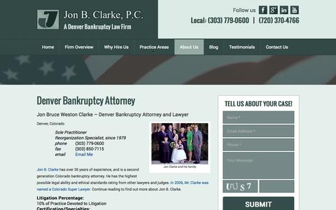 Screenshot of About Page jonbclarke.com - Top Denver Bankruptcy Attorney and Lawyer - captured Oct. 6, 2014