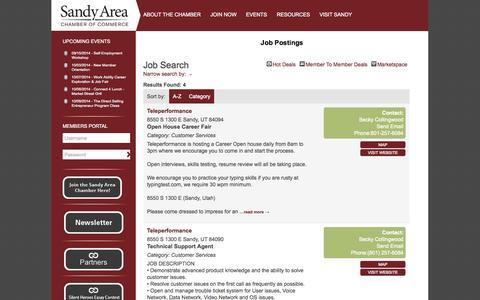 Screenshot of Jobs Page sandychamber.com - Job Search - Job Postings | Sandy Area Chamber of CommerceSandy Area Chamber of Commerce - captured Oct. 4, 2014