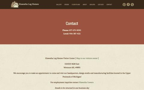 Screenshot of Contact Page hiawatha.com - Hiawatha Log Homes - captured Nov. 2, 2014