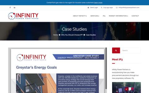 Screenshot of Case Studies Page infinitypowerpartners.com - Case Studies - Infinity Power Partners - captured Oct. 11, 2018