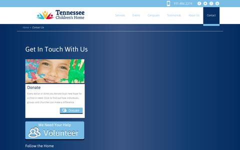 Screenshot of Contact Page tennesseechildrenshome.org - Contact Us | Tennessee Children's Home - captured Feb. 25, 2016