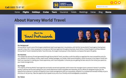 Screenshot of About Page harveyworld.co.nz - About Harvey World Travel - captured Nov. 1, 2014
