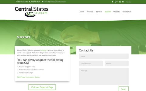 Screenshot of Support Page centralstatestelecom.com - Support – Central States Telecom - captured Nov. 10, 2018