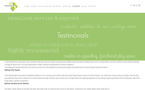 Screenshot of Testimonials Page childfriendly.com.au - Testimonials — Child Friendly Solutions - captured Sept. 27, 2018