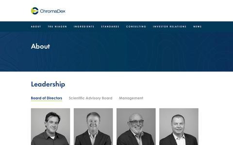 Screenshot of Team Page chromadex.com - About - ChromaDex - captured Nov. 10, 2018