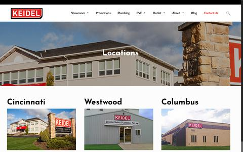 Screenshot of Locations Page keidel.com - Locations | Keidel Supply - captured Sept. 27, 2018