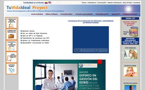 Screenshot of Home Page tuvidaideal.com - LOS MEJORES CURSOS PROFESIONALES DE EFT ONLINE | DESDE 2005 | - captured Feb. 16, 2016