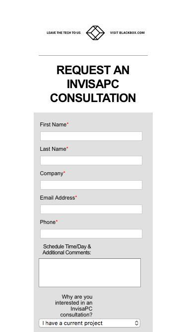Request an InvisaPC Consultation | Black Box