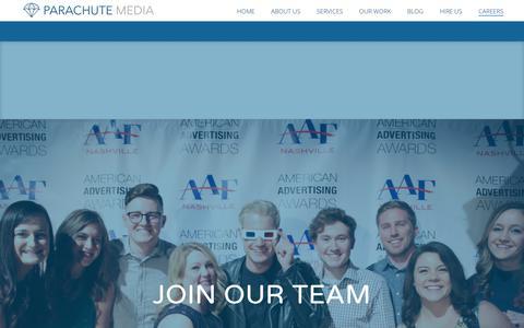 Screenshot of Jobs Page parachutemedia.co - Careers - Parachute Media - captured July 15, 2018