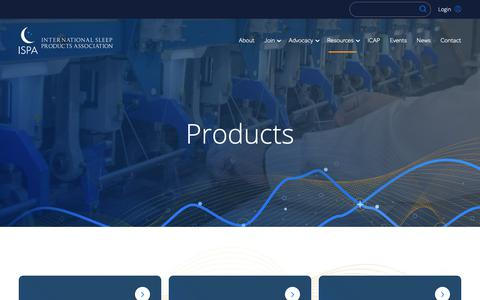 Screenshot of Products Page sleepproducts.org - Products - International Sleep Products Association   ISPA - captured Oct. 12, 2018