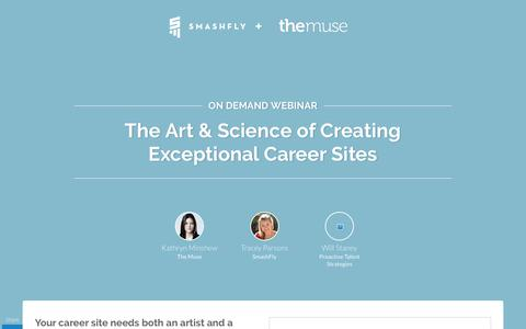 Screenshot of Landing Page smashfly.com - The Art & Science of Creating Exceptional Career Sites - captured Feb. 8, 2019