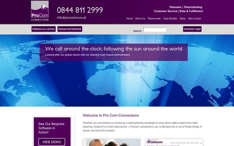 Screenshot of Home Page procoms.co.uk - ProCom Connections | Telemarketing Services & Software | B2B Telemarketing - captured Oct. 3, 2014