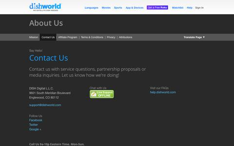 Screenshot of Contact Page dishworld.com - Contact Us | DishWorld - captured Nov. 4, 2014