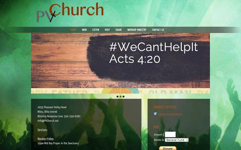 Screenshot of Home Page pvchurch.net - Pleasant Valley Church Niles - captured June 18, 2015