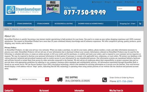 Screenshot of About Page Privacy Page steamsaunadepot.com - About Us - HomeMart Products - captured May 7, 2017
