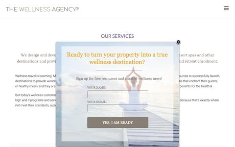 Screenshot of Services Page thewellnessagency.com - The Wellness Agency | Wellness Retreat Design and Marketing - captured Oct. 20, 2018