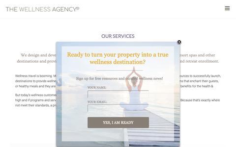 Screenshot of Services Page thewellnessagency.com - The Wellness Agency | Wellness Retreat Design and Marketing - captured Oct. 20, 2018