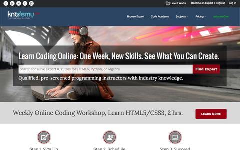 Screenshot of Home Page knodemy.com - online tutoring   math tutoring   free online class   knodemy.com - captured June 23, 2015