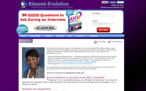 Screenshot of About Page resume-evolution.com - Resume-Evolution -- Resumes | Cover Letters | Interview Guidance | LinkedIn Profiles and More! - captured Oct. 26, 2014