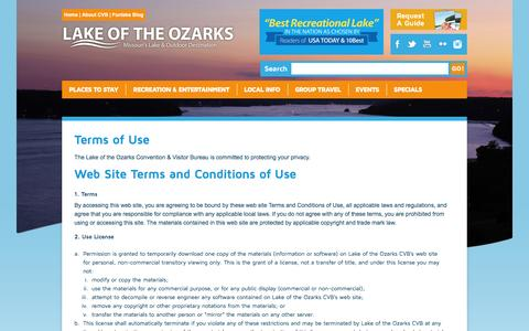Screenshot of Terms Page funlake.com - Lake of the Ozarks - Terms of Use - captured Jan. 23, 2016