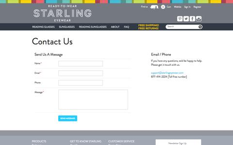 Screenshot of Contact Page starlingeyewear.com - Contact Us   STARLING Eyewear - captured Sept. 25, 2014