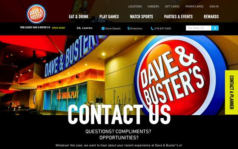 Screenshot of Contact Page daveandbusters.com - Dave & Buster's - Contact Us - captured Feb. 8, 2016