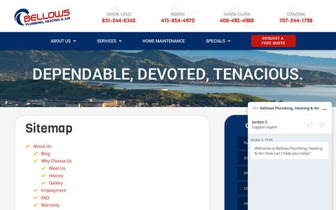 Screenshot of Site Map Page bellowsservice.com - Sitemap | Bellows - captured June 20, 2019