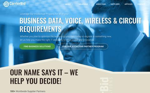 Screenshot of Home Page carrierbid.com - CarrierBid Communications | Telecom Consulting - captured Nov. 10, 2018