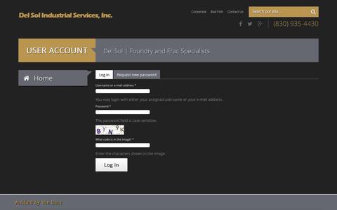 Screenshot of Login Page delsolservices.com - User account | Del Sol Industrial Services, Inc. - captured Oct. 5, 2014