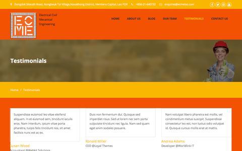 Screenshot of Testimonials Page ecmelao.com - Testimonials – ECMELAO - captured Sept. 25, 2018