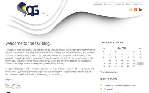 Screenshot of Blog qgconsulting.com.au - QG Blog: Home | Mining Consultants | Geology Training Dev - captured Jan. 23, 2016