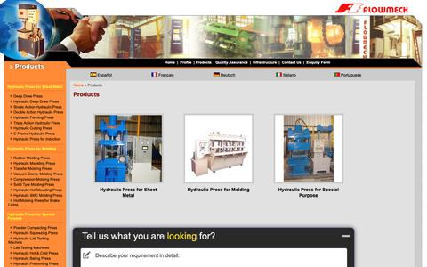 Screenshot of Products Page hydraulicpressnet.com - Products, Hydraulic Press for Sheet Metal, Hydraulic Press for Molding, Hydraulic Press for Special Purpose - Flowmech Engineers Private Limited - captured Dec. 19, 2018