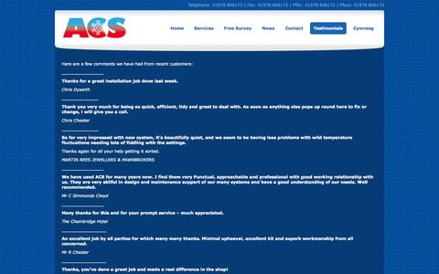 Screenshot of Testimonials Page acscool.co.uk - Contact ACS Specialist in Air Conditioning in Wrexham, Chester and Wirral, Testimonials | ACS Air Conditioning Chester - captured Nov. 5, 2014