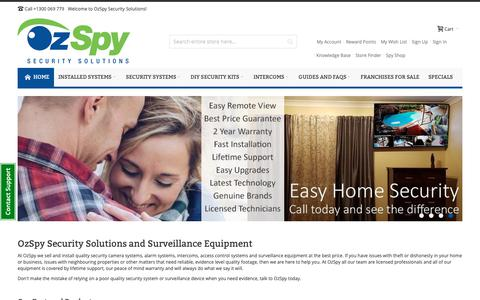 Screenshot of Home Page ozspy.com.au - Security Cameras – Security Systems – Alarm Systems – Intercoms - captured Oct. 9, 2018