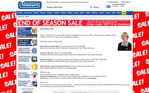 Screenshot of Contact Page towsure.com - Welcome to Towsure - Discount Camping and Caravanning Equipment, EC Approved Towbars, Trailers and Trailer Parts from Towsure - captured Sept. 22, 2014
