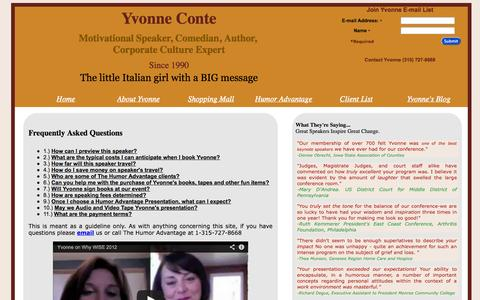 Screenshot of FAQ Page yvonneconte.com - Inspirational Keynote Speaker - Yvonne Conte - Happy People ARE More Productive - captured Oct. 3, 2014