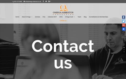 Screenshot of Contact Page omega-asbestos.co.uk - Contact us | Omega Asbestos Consulting - captured Oct. 19, 2018