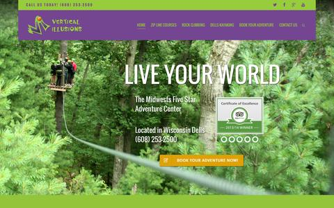 Screenshot of Home Page verticalillusions.com - Vertical Illusions Zip Line, Kayak, Rock Climb | Wisconsin Dells Headquarters for Adventure! - captured Sept. 30, 2014